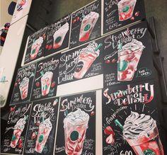 Restaurant Menu Design, Starbucks Christmas, Chalkboard Paint, Chalk Art, Coffee Shop, Fonts, Clip Art, Lettering, Projects