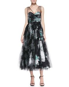 Milly Sleeveless Floral Overlay Cocktail Dress | Cusp