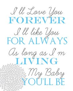 Love You Forever 8x10 printable Wall Art. $5.00, via Etsy.