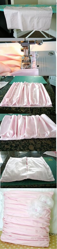 ruffled pillow - Seriously so easy! Need to make...would look so cute with the pink DIY lampshade I pinned. ;)