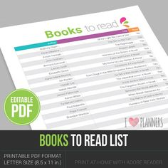 Books to read list / wishlist - Instant Download! Editable PDF file, ready to edit and print at home! by ILovePlanners