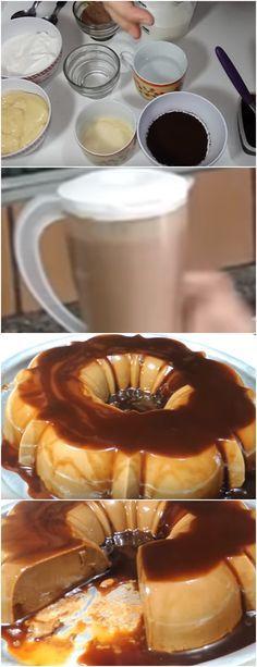 PUDIM MARAVILHOSO DE CAFÉ CAPUCCINO, FÁCIL DE FAZER E COM AQUELE DELICIOSO AROMA DO CAFÉ!! VEJA AQUI>>>Preaqueça o forno a 180º C Bata no liquidificador todos os ingredientes, reserve Caramelize a forma para pudim e despeje a mistura #receita#bolo#torta#doce#sobremesa#aniversario#pudim#mousse#pave#Cheesecake#chocolate#confeitaria Portuguese Desserts, Portuguese Recipes, Sweet Desserts, Sweet Recipes, Jello Pudding Recipes, Chef Recipes, Cooking Recipes, Chocolate Day, Latin Food
