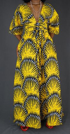Yellow Ankara Maxi dress/ African clothing for women/African