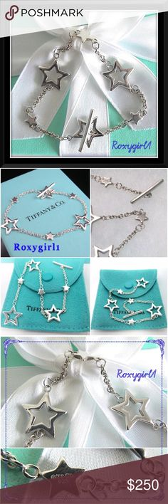 """Tiffany & Co. Multi Star Link Toggle Bracelet Tiffany & Co. Multi Star Link Toggle Bracelet ~ RARE 100% Authentic Absolutely Stunning Worn twice ~ Like New! Includes original box, pouch and care card Very Feminine & Will complement any outfit! length is approximately: 7.25""""  3 Large Stars & 3 Small Solid Stars Hallmarks: T & Co. 9.25 on 1 of the small stars ❌NO TRADE❌ Tiffany & Co. Jewelry Bracelets"""