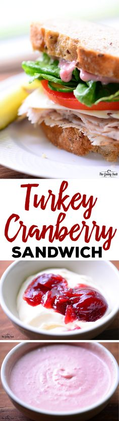 This crave-worthy Turkey Cranberry Sandwich recipe is easy to make for a quick lunch or for a party. The cranberry mayo recipe is included in the post and this sandwich is great way to use leftover turkey. Except do yogurt instead of mayo Turkey Cranberry Sandwich Recipe, Turkey Sandwiches, Wrap Sandwiches, Soup And Sandwich, Sandwich Recipes, Thanksgiving Recipes, Holiday Recipes, Cranberry Mayo, Sauces