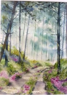 Brume matinale en forêt Landaise: aquarelle Anne Larose
