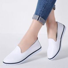 Women Ballet Flats Shoes Genuine Leather Slip on ladies Shallow Moccasins Casual Shoes Female Loafer Shoes Women Leather Ballet Shoes, Leather Booties, Leather Flats, Leather Slip Ons, Shoe Boots, Ballet Flats, Men With Street Style, Studded Heels, Boho
