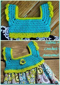 DIY Crochet Tutu Dress Bodice Free Patterns: Crochet tutu bodice make it easy to crochet the upper part of dress and add tulle tutu skirts at bottom. Diy Crochet Tutu Dress, Crochet Toddler Dress, Crochet Girls, Crochet For Kids, Crochet Dresses, Crochet Clothes, Easy Crochet, Free Crochet, Fashion Dress Up Games