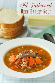 Old Fashioned Beef Barley Soup with Tomatoes - a wholesome comfort food soup…