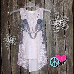 ☮ Ginger G Tank Top ☮ Ginger G  Elephant Tank Top  ☮ Size M ☮ Somewhat Sheer, BOHO Trendy.. Super Cute in A-1 Perfect Condition ☮ Price is FIRM unless BUNDLED for further Discount NO TRADE Ginger G Tops Tank Tops