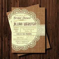 Baby Shower Invitation-Printable-Burlap and Lace-Doily-Rustic-custom colors on Etsy, $15.08