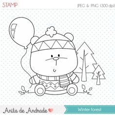 50% OFF Winter forest Stamp - personal and commercial use - Baby bear line art, woodland graphic, digital clip art - S027