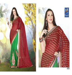 Saree :: Tradition With Trend Green and Red Saree with Green Blouse.