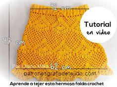 Como tejer falda crochet paso a paso en video Free Crochet, Crochet Top, Crochet Clothes, Skirts, Women, Inspiration, Ideas, Fashion, Crochet Tops
