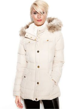 Laundry by Design Coat, Hooded Faux-Fur-Trim Puffer on shopstyle.com