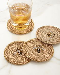Bee Coasters, Set of 4 (made of glass beads on cotton backing)