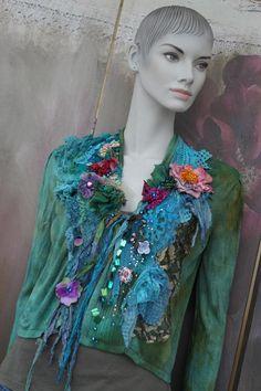 Boho Spring cardi colorful cardi hand dyed wearable art