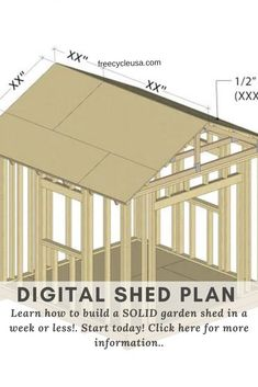 Choose from 16 different shed designs. From large to small sizes, barn, gable, saltbox, lean to and many other styles, we offer a variety of professional ... Diy Storage Shed Plans, Diy Shed, Build Your Own Shed, Backyard Sheds, Tool Sheds, Shed Design, Building A Shed, Gazebo, Outdoor Structures