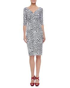 3/4-Sleeve+Leopard-Print+Cocktail+Dress++by+La+Petite+Robe+by+Chiara+Boni+at+Bergdorf+Goodman.
