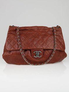 Chanel Brown Glazed Caviar Leather Large Elastic Flap Bag ...