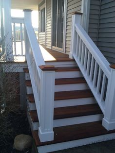 Exterior, Charming Front Porch Decoration With Custom Porch Railing : Casual Front Porch Decoration With Dark Brown Wood Staircase Step And White Wood Front ...