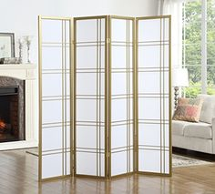 Roundhill Furniture RD042SL Seto 4-Panel Room Divider Screen, Gold