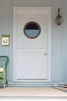 dutch door with circle window.