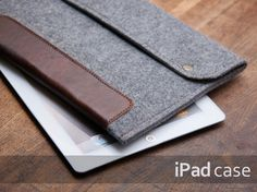 Ipad AIR case. Felt ipad case with natural leather and metal buttons closure. 4mm felt protected ipad cover. Felt ipad sleeve. Ipad 4 cover....