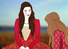Reign illustration adelaide kane portrait drawing series queen dresses