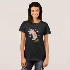 #Cute Cartoon Majestic Unicorn T-Shirt - #cute #pink #sweet #custom