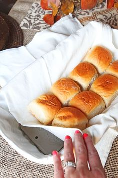 This is genius! A gorgeous bread basket with a hidden warming stone to keep bread warm after it comes out of the oven. A must-have for a Thanksgiving table and makes a great hostess or holiday gift!