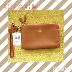 ✨NWT Leather Coach DOUBLE Wristlet✨ New Authentic Coach Wristlet in tan leather and pink details. Zippers goes all the way around corner for easy use. Card slots. Very cute, bought for myself, no flaws.  Take reasonable offers And Love to Bundle No Trades Lmk if you need measuresments, that way we can have a pleasant transaction! Thanks ✨ Firm Unless Bundle✨ Coach Bags Clutches & Wristlets