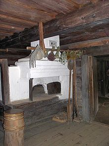 Typical russian oven in a peasant izba