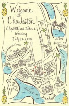 Couture Maps by Stephannie Barba, Welcome to Charleston, Top 5 Fun & Custom Wedding Maps, Weddingistas For out of town guests! Wedding Stationary, Wedding Invitations, Map Invitation, Wedding Paper, Our Wedding, Wedding Weekend, Destination Wedding, Charleston Map, Wedding Welcome Bags