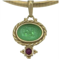 Pre-owned 14k Yellow Gold Carved Green Jadeite Cowboy Rodeo Ruby Omega... ($485) ❤ liked on Polyvore featuring jewelry, pendants, ruby jewelry, western pendants, ruby pendant, carved pendant and i love jewelry
