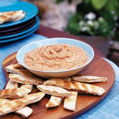 This summery vegetarian dip recipe is full of the flavours of the Mediterranean. Serve with pitta bread and plenty of crudités.