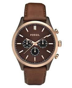 Fossil Watch, Men's Chronograph Brown Leather Strap 44mm FS4632 - All Watches - Jewelry & Watches - Macy's