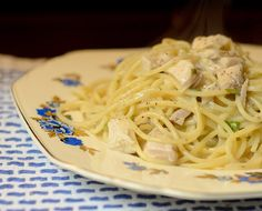 Chicken and pasta with veloute sauce - a nice sauce to make with leftover broth