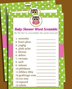 owl baby shower word scramble games