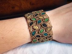 Leaves macrame bracelet - Color leaves micromacrame cuff - natural ethnic… More