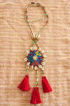 Kuchi Seashell Tassels Necklace/ Ethnic / Hippie by CHEZMOIMYHOME, $50.00
