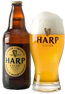 Harp Lager. This Irish pale lager is made by the Guinness Brewery. It has a light, crisp flavor and a light golden hue. One of the first beers I ever actually really liked. Great for a hot day.