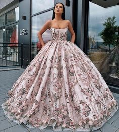 Buy Princess Ball Gown Spaghetti Straps Beads Floral Print Prom Dresses Long Quinceanera Dress Online – SisaStore This dress could be custom made, there are no extra cost to do custom size and color. Pretty Prom Dresses, Elegant Dresses, Formal Dresses, Long Dresses, Fancy Dresses For Weddings, Dresses For Prom, Formal Evening Gowns, Pastel Prom Dress, Pastel Wedding Dresses