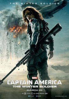 Captain America 2: Winter Soldier poster, where Marvel finally poses a male character in the Butt Pose (looking-over-my-shoulder-so-you-can-get-the-full-effect-of-my-figure). The Winter Soldier is working it.