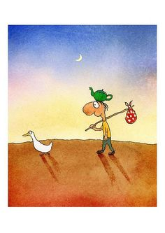 Direction finding duck, by Michael Leunig