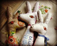 Baby Bean the Hand Embroidered Fabric Hare by murgatroydandbean, £22.00
