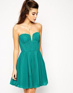 ASOS | ASOS Twist Plunge Bandeau Skater Dress at ASOS