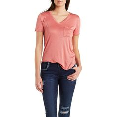 Charlotte Russe V-Neck Boyfriend Pocket Tee ($15) ❤ liked on Polyvore featuring tops, t-shirts, blush, boyfriend t shirt, pocket tees, boyfriend v neck tee, red top and red v neck t shirt