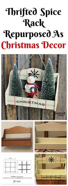 Love the painted plaid Thrift Shop Spice Rack to Christmas Decor organizedclutter.net