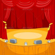 Theater Stage with Velvet Curtains. Vector CartoonBackground.